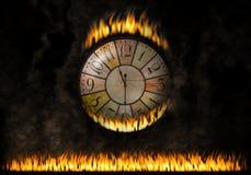 Zegarka zegarowy ognisty Upływający czas Pojęcie oparzenie czas, pilność royalty ilustracja