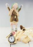 Zegarki, mali pudełka łączący z arkaną, faborek i dekorują Obraz Stock