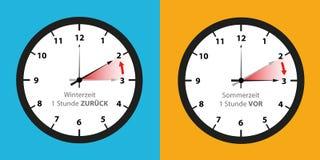 Zegarowa zmiana lato czas zima czasu set i ilustracja wektor