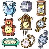 zegarowe ikony ustawiający zegarki Zdjęcia Royalty Free