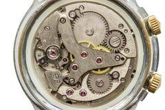 Zegarowego mechanizmu makro- strzał, odgórny widok Fotografia Royalty Free