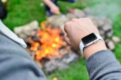Zegarowej atlety Jabłczany zegarek Zdjęcie Royalty Free