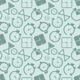 Zegarowej zegar ikony bezszwowy deseniowy tło Biznesowa pojęcie wektoru ilustracja Czasu stopwatch zegaru alarmowy symbol ilustracja wektor