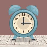 Zegarowy dzwonu alarm na stole royalty ilustracja