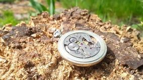 Zegarowy mechanizm na drewnianym tle zbiory