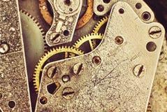 Zegarowy mechanizm z przekładniami makro- obraz tonujący Fotografia Stock