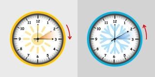 Zegarowy przełącznikowy lato i zima ilustracja wektor