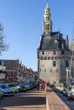 Zegarowy wierza Hoofdtoren w Hoorn, holandie Zdjęcia Royalty Free