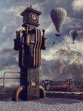 Zegarowy wierza i balony royalty ilustracja