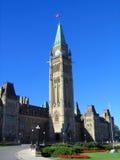 Zegarowy wierza Kanadyjski parlamentu budynek w Ottawa, Ontario Obrazy Royalty Free