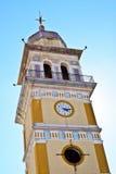 Zegarowy wierza kościół Agia Triada w Messo Gerakari, Zaky Zdjęcia Stock