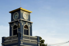 Zegarowy wierza przy Surin okręgiem, Phuket miasteczko Obrazy Royalty Free