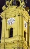 Zegarowy wierza szczegół Theatine kościół w Monachium Fotografia Stock