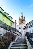 Zegarowy wierza w Sighisoara, Rumunia Fotografia Stock