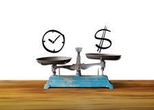 Zegaru i pieniądze dolarowy znak na skala, Zdjęcie Stock