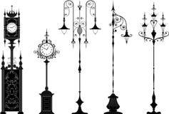 zegary fasonowali starą lampion ulicę ilustracja wektor