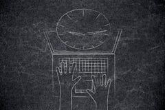 Zegary i alarmy strzela z laptopu ekranu od above zdjęcie stock