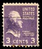 Zegel in de V.S., een portret 3de President wordt gedrukt van de Verenigde Staten, Thomas Jefferson dat royalty-vrije stock afbeeldingen