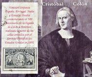 Zegel die de aankomst van Columbus herdenkt aan Amerika stock afbeeldingen