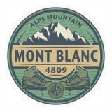 Zegel of embleem met tekst Mont Blanc, de Berg van Alpen stock illustratie