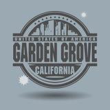 Zegel of etiket met binnen het Bosje van de teksttuin, Californië vector illustratie