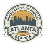 Zegel of etiket met naam van Atlanta, Georgië, vector illustratie