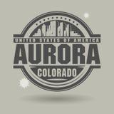 Zegel of etiket met tekst binnen Dageraad, Colorado vector illustratie