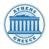 Zegel of etiket met woorden Athene, Griekenland stock illustratie