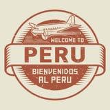 Zegel of markering met vliegtuig en tekstonthaal aan Peru Stock Fotografie