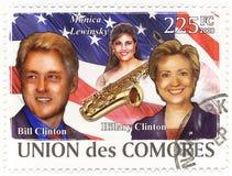 Zegel met Bill Clinton en vrouw Hillary Stock Foto