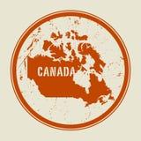 Zegel met de naam en de kaart van Canada royalty-vrije illustratie