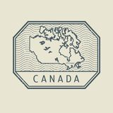 Zegel met de naam en de kaart van Canada vector illustratie
