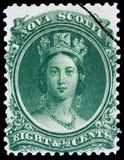 Zegel met een jeugdig portret van Koningin Victoria stock afbeelding