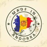 Zegel met kaartvlag van Andorra stock illustratie