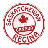 Zegel met naam van Canada, Saskatchewan en Regina vector illustratie