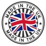 Zegel met vlag van het UK. Gemaakt in het UK. Stock Foto