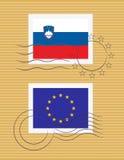 Zegel met vlag van Slovenië Stock Foto