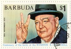 Zegel met Winston Churchill Royalty-vrije Stock Fotografie