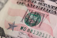 Zegel op vijftig dollarrekening royalty-vrije stock foto