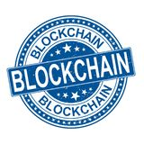 Zegel van het Blockchain de blauwe ronde grungy rubberweb vector illustratie