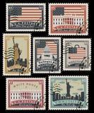 Zegels met de oriëntatiepunten van Amerika stock illustratie