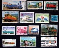 Zegels met trein in New York royalty-vrije stock foto