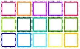 Zegels met verschillende gekleurde grenzen Royalty-vrije Stock Afbeeldingen