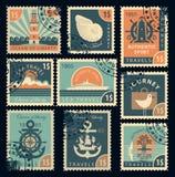 Zegels op het thema van reis door overzees Stock Foto