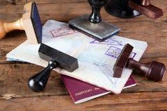 Zegels op paspoort Stock Fotografie