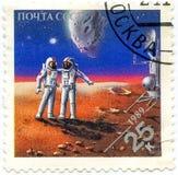 Zegels in Rusland Gewijd aan Exploratie in Ruimte, Circ worden gedrukt die royalty-vrije stock afbeelding
