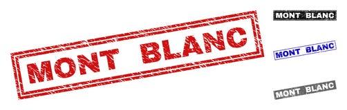Zegels van de Grunge de MONT BLANC Gekraste Rechthoek royalty-vrije illustratie
