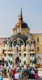 Zegen van water-luifel kapel Heilige Drievuldigheid St Sergius Lavra Sergiev Posad, het gebied van Moskou Stock Foto