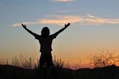 Zegevierend mens bij horizontale zonsondergang - stock afbeelding