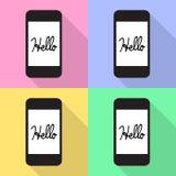 Zeggend Hello op het Mobiele scherm Vectoreps10, Groot voor om het even welk gebruik Royalty-vrije Stock Foto's